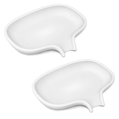 SUBEKYU Soap Dish with Draining Tray, Silicone Soap Holder Saver for Shower/Bathroom, Keep Soap Bars Dry Clean, 2 Pack, White and Gray (2 White)