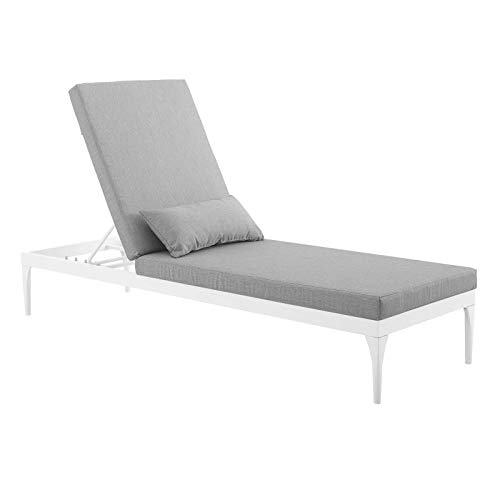 Modway Perspective Aluminum Outdoor Patio Chaise with Cushions, Lounge Chair, White Gray
