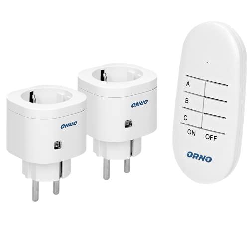 ORNO GB-439(GS) Set de prises télécommandées avec télécommande 2+1 portée en champ libre : 30 m