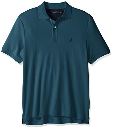 Nautica Men's Classic Fit Short Sleeve Solid Soft Cotton Polo Shirt, Cargo Blue, 3X