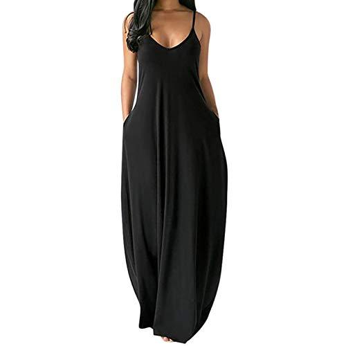 Elegant Ärmellos Freizeitkleider für Damen Sommerkleid Sexy ärmellose V-Ausschnitt Minikleid Langarm wickelkleid Boho Kleid Frauen Normallack Plus Größe Lange Kleid Blusenkleid (5XL, Schwarz)