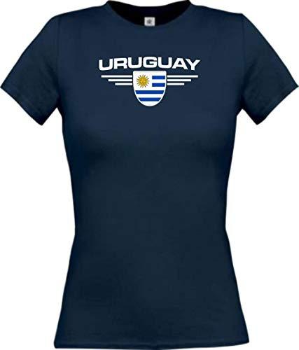 Camiseta de mujer Uruguay, escudo con nombre y número personalizado azul marino XL
