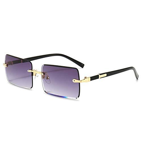 HAOMAO Diseñador de la Marca Uv400 Rectangle Gradient Lens Gafas de Sol sin Montura para Mujer 10