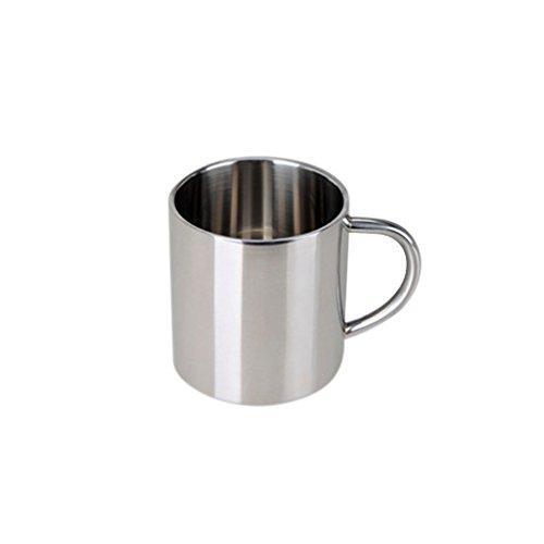 Sharplace Edelstahl Bierkrug Tee Tasse Kaffeetasse Reise Wandern Becher Mit Handgriff - Silber, 300ml