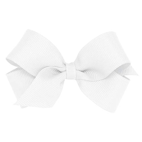 Wee Ones Baby Girls' Mini Classic Grosgrain Hair Bow on a WeeStay Clip w/Plain Wrap Center - White,One Size