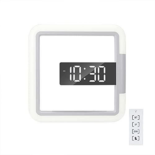 Wednesday - Reloj de pared con luz LED con cuatro botones táctiles de función, reloj digital a temperatura con mando a distancia cuadrado