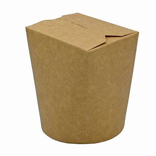 Pack & Cup Bio Asia-Box mit Faltdeckel, Einweg Döner-Box für Fingerfood Kraft 500 ml 30 Stück