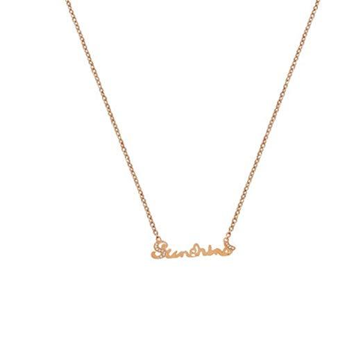 Rose gouden letters titanium stalen ketting ketting vrouwelijke sleutelbeen vrouwelijke vloed persoonlijkheid temperament eenvoudige decoraties