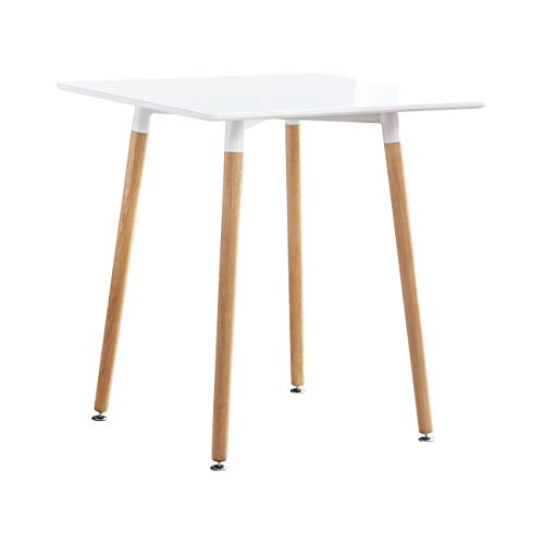 PBPKING White Square Dining Table Wooden Dinner Table with Wood Legs White Modern Kitchen Table for 4 (White_Square)
