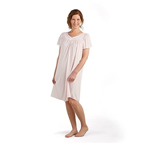 Miss Elaine Women's Tricot Short Flutter Sleeve Nightgown, Pink, Medium