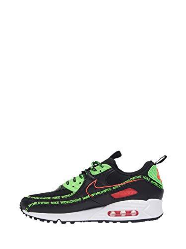 Nike Air MAX 90 WW, Zapatillas de Running para Hombre, Black Flash Crimson Green Strike White, 40.5 EU