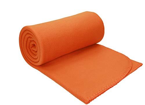 Betz Luxus Fleecedecke Kuscheldecke Wohndecke Farbe orange Größe 130x170 cm Qualität: 220 g/m²