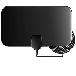 Antena de TV, Antena Interior HDTV, 50 Millas Gama de Recepción, Obtenga Muchos Canales de TV Gratis, Ultra Plana Antena TV TDT Interior DVB-T DVB-T2
