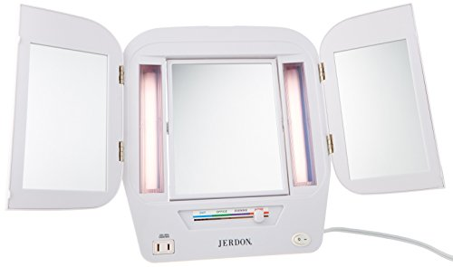 Jerdon JGL10W Lighted Makeup Mirror with 5x Magnification, White Finish, 11