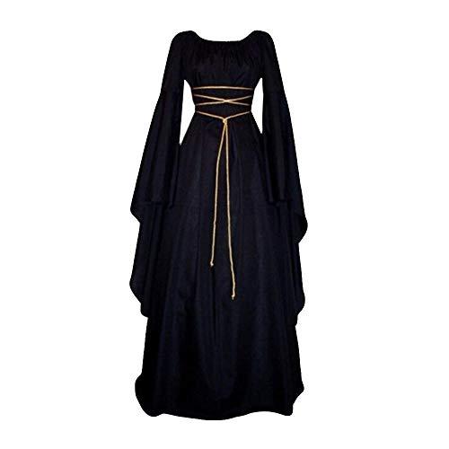 Doublehero Damen Mittelalter Kleid Satin Trompetenärmel Bodenlanges Retro Kostüm Gewand Gothic Renaissance Viktorianisches Cosplay Prinzessin Kleidung HexenKostüm Gewand(XL,Schwarz)
