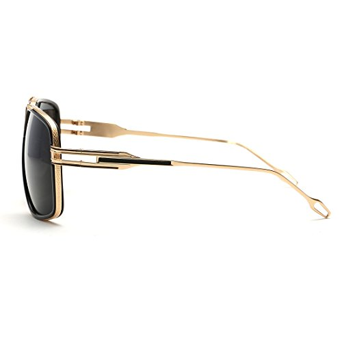 AEVOGUE Aviator Sunglasses For Men Goggle Alloy Frame Brand Designer AE0336 (Gold&Black, 62)