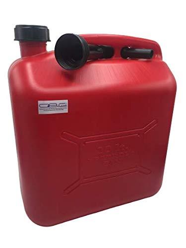 Glac Store Tanica Bidone Benzina 20 Litri in Plastica Resistente per Trasporto Carburante Gasolio Olio Omologata Colore Rosso con Tubo Boccaccio Flessibile