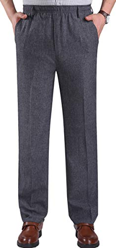 Youhan Men's Elastic Waist Dress Pants Pull On Trousers (Large, Gray)