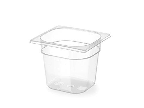HENDI Gastronormbehälter, Temperaturbeständig von -40° bis 80°C, Skalierung, Geruchs- und geschmackneutral, 2,4L, Polypropylen, GN 1/6, 176x162x(H)150mm, Transparent