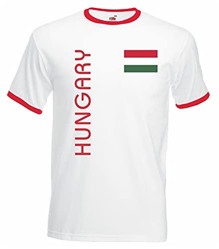 World-of-Shirt Herren Retro T-Shirt Ungarn Trikot EM 2016 Weiss-M