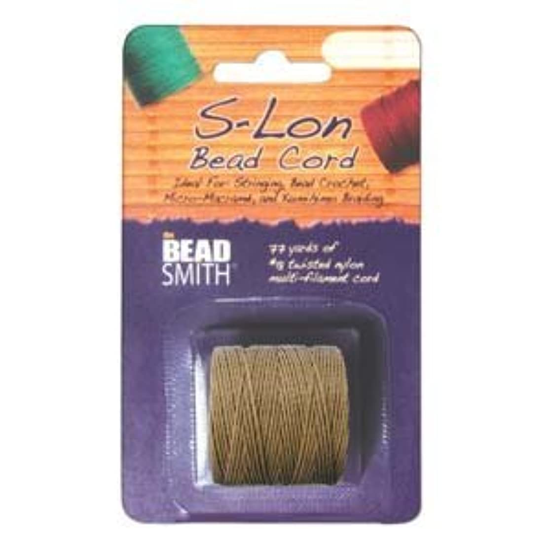 S-Lon Superlon #18 Twisted Nylon Bead Cord 77 Yard Spool Bobbin MEDIUM BROWN