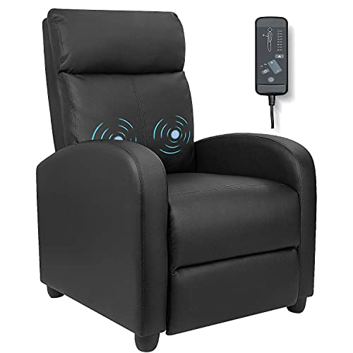 Furniwell Recliner Chair with Massage, Home Theater Seating & Wing Back Pu Leather for Modern Single Living Room
