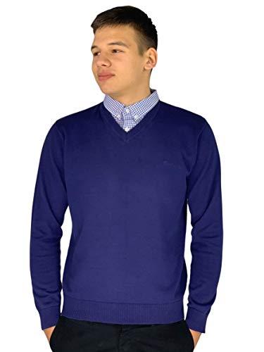Pierre Cardin - Maglione lavorato a maglia con scollo a V e inserto con il colletto di camicia Cobalto M