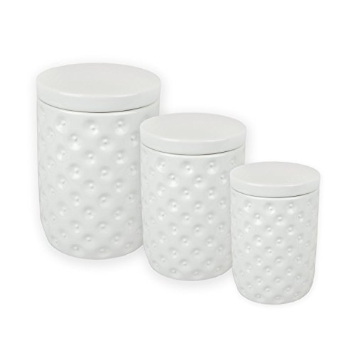 DII 3-Piece VIntage Ceramic Kitchen Canister Airtight Lid For Food Storage, Store Coffee, Sugar, Tea, Cookies, Crackers, Spices and More - White