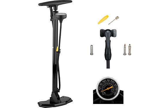 3min19sec Fahrradpumpe Pro aus Stahl - Oben positioniertes Manometer - Standpumpe fürs Fahrrad, MTB oder Rennrad mit Softgriff für alle Ventile - Hochdruck bis 11 bar 160 psi