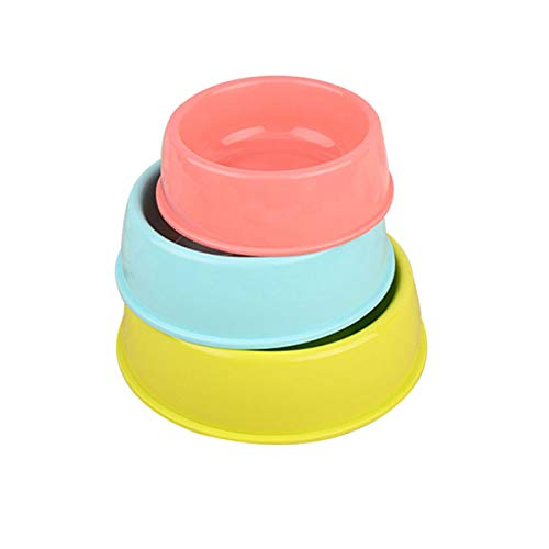 Hakshduw Candy Kunststoff pet die runde Schüssel Katzen und Hunde in eine Schüssel hundefutter Reihe pet installiert, in der Kleinen 3 - Paket