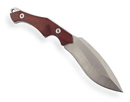 VIKING GEAR kleine Kukri Machete mit Holzgriff - Gürtelmesser - Freizeitmesser - Werkzeug - Survival Ausrüstung - Messer mit Scheide - FullTang Gebogene Klinge scharf Silber braun
