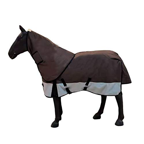 Warme Winter-Pferdedecke, wasserdichte und atmungsaktive Pferdedecke mit Hals, Dicker und Verstellbarer Satteldecke für die Pferdepflege