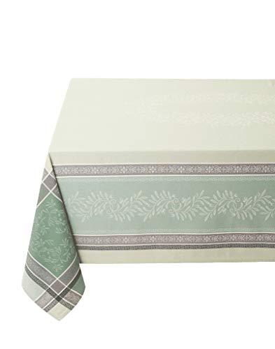 Elegante Jacquard Tischdecke Eckig Baumwolle Olivia Vert Baumwolltischdecke Teflon beschichtet Nizza Provence (160 x 300 cm)