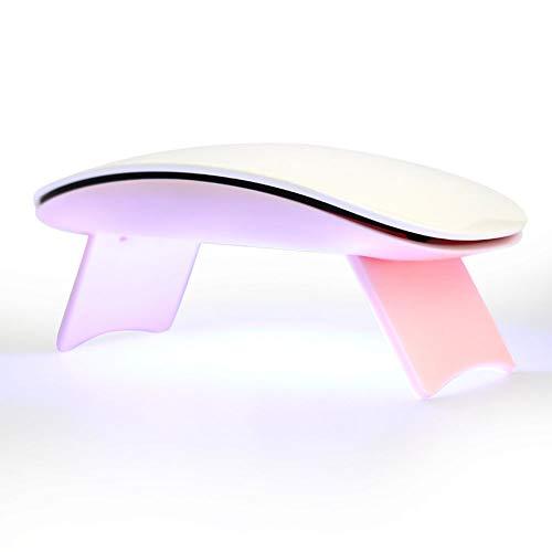 QWER Secador de uñas de manicura máquina Inteligente fototerapia 6w Plegable portátil de luz incorporada de Litio de la batería Botón de ratón de uñas,Rosado