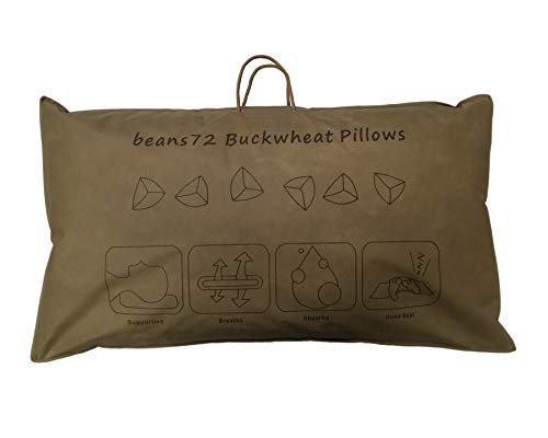 Beans72 Organic Buckwheat Pillow - King Size (20 inches x 36 inches)