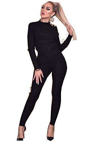 Mooie Womens Geribbeld Twee Stuk Loungewear Set Top Bodem Trainingspak met Parel Detail