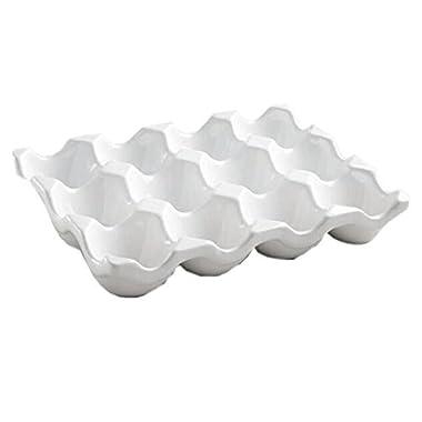 White Ceramic 12-cup Egg Crate