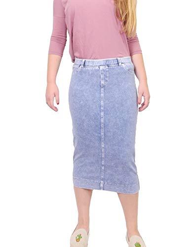 Hard Tail Forever Midi Denim Pencil Skirt with Back Pockets Style MWJ-105 Light Denim M