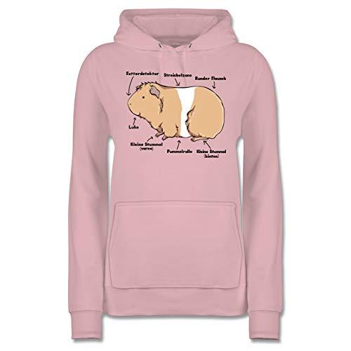 Sonstige Tiere - Meerschwein Anatomie - M - Hellrosa - meerschweinchen Pullover Damen - JH001F - Damen Hoodie und Kapuzenpullover für Frauen
