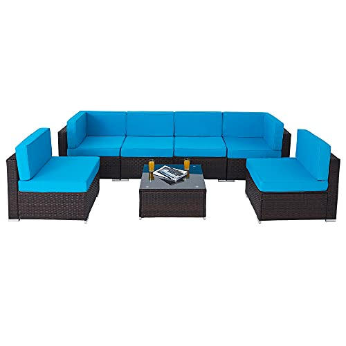 VONLUCE 7pc Wicker Patio Furniture Set, Sectional Sofa Set with Chairs and Glass Coffee Table,...