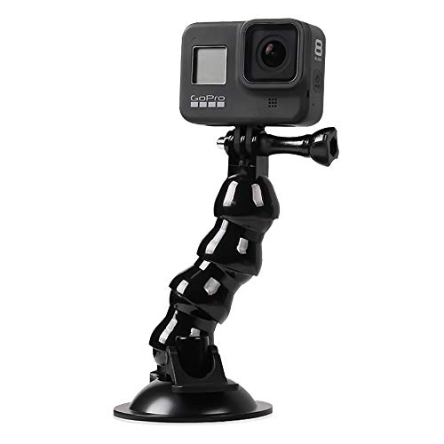 Flexible Gooseneck Suction Cup Car Mount Holder for GoPro Hero 9 8 7 6 5 Black,SUREWO Flexible Extension Car Windshield Mount with Phone Holder for iPhone,Samsung Galaxy,Google Pixel and More