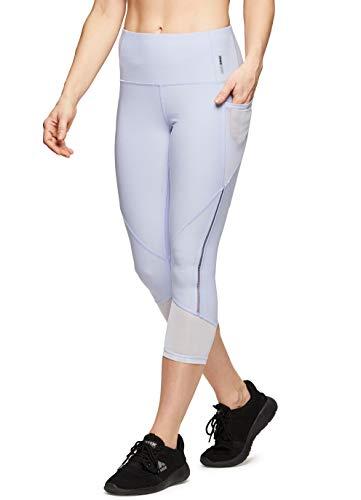 RBX Active Damen Fashion Capri Leggings mit Mesh-Einsätzen - Violett - Mittel