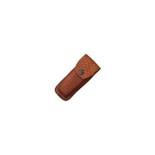Sheath Folding Knife Sheath, Brown leather w/ embossed basketweave, 4.5-5.25i...