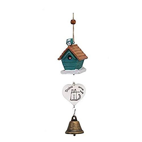 à Suspendre Décorations à Suspendre Crafts – Ornements Maison d'oiseau Cage Maison Ornement Wind Chimes bébé Enfant Cadeau Pastoral à Suspendre Décoration – B – 1 x Lovely Birds Wind Chimes Bell Bleu