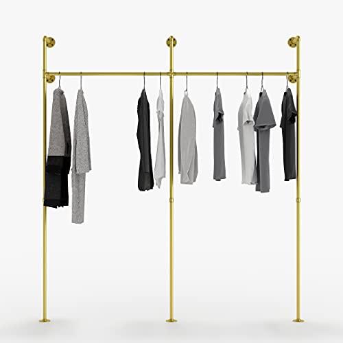 pamo Kleiderstange Industrial Loft Design - Garderobe für begehbaren Kleiderschrank Wand I Schlafzimmer Kleiderständer aus goldenen stabilen Rohren zur Wandmontage… (2-Fach)