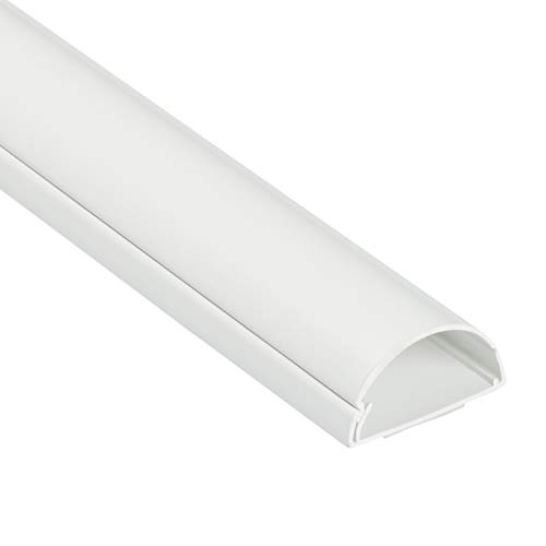 D-Line 1D4020W Mini+ halbrunder Kabelkanal, Kabelabdeckung 40x20 mm, 1 m weiß