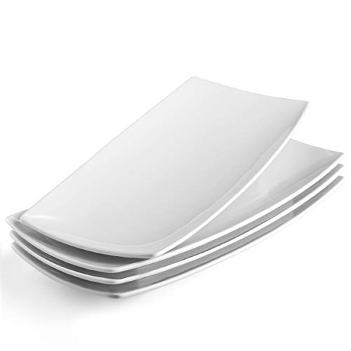 KooK Serving Trays, Rectangular Platters, Ceramic, White 11.8 in, Set of 4