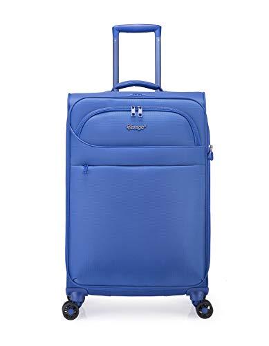 ABISTAB Verage Ultraleicht 4-Zwillingsrollen-Trolley Weichgepäck Koffer M-68cm 64-77L erweiterbar, Stoff Reisekoffer mittelgroß, Blau