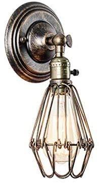 Wlnnes Lámpara de pared industrial de la vendimia con enchufe de interruptor en E27 luces de pared Loft Luces de pared retro Lámparas de luces Estetaurant Iluminación for el hogar