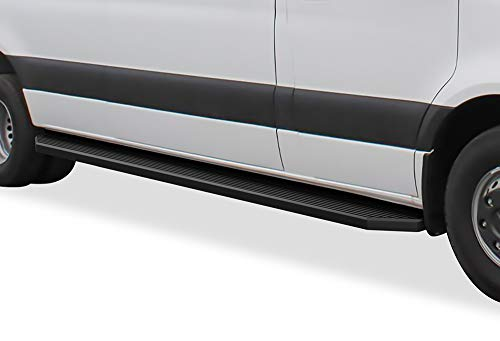 APS iBoard Third Generation Black Aluminum Flat Style Running Boards Side Step for Selected Dodge Mercedes-Benz Sprinter
